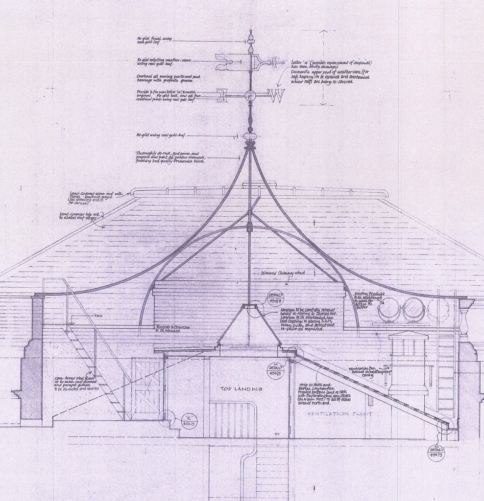 Detail of an architect's drawing from 1990, of the Banqueting House weathervane.