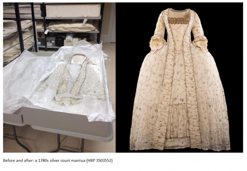 Before and after: A 1780's Silver Court Mantua (HRP3503552)