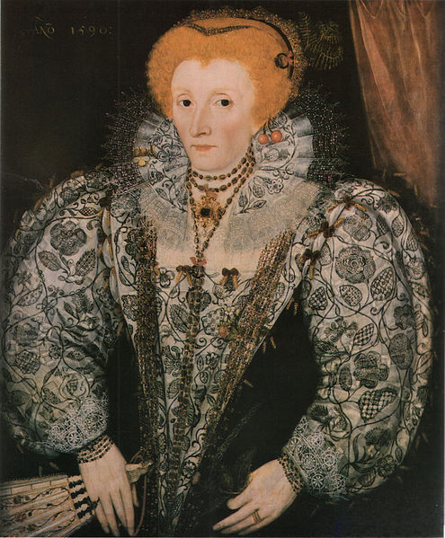 Queen Elizabeth I', unknown artist, Jesus College, Oxford, (1590). Here we see details of the Tudor rose in the blackwork embroidery on Elizabeth's sleeves, stomacher and ruff. A pansy also sits on the ruff, a fern in her hair, and she holds a thistle. Elizabeth often wears a number of real flowers, although these could have represented very realistic jewellery. (Wikimedia Commons).