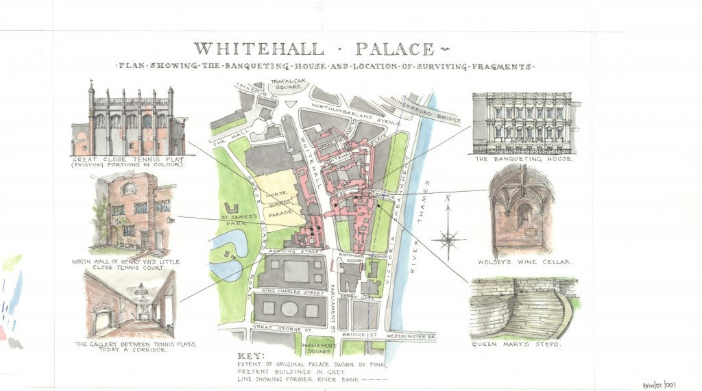Plan showing location of the surviving fragments of Whitehall Palace