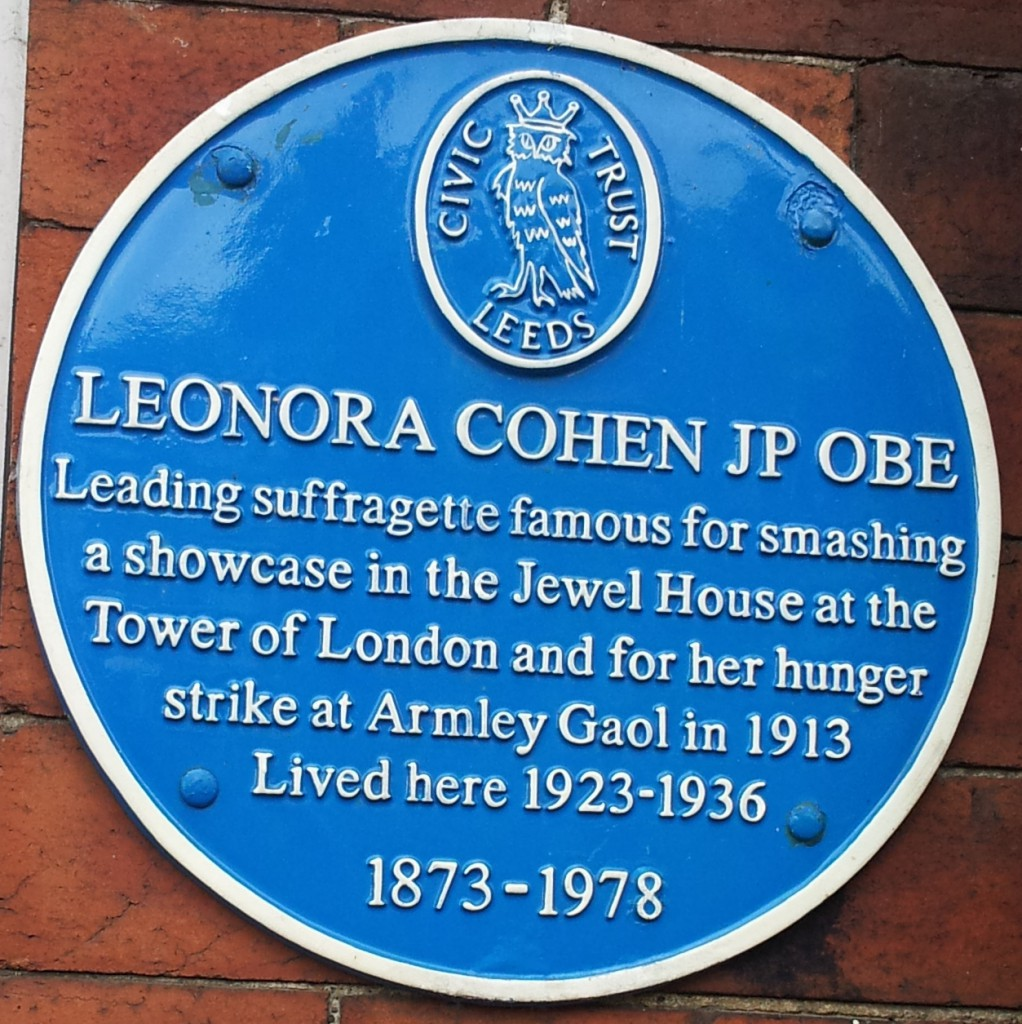 """A blue plaque commemorating the life of Leonora Cohen outside her home in Leeds. """"Leonora Cohen"""" by P-khoo is licensed under CC BY 2.0"""