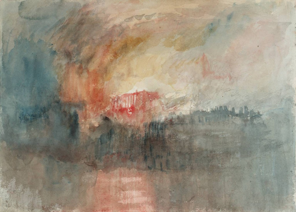 One of a series of watercolours depicting the fire of 1841 by J.M.W. Turner. ©Tate