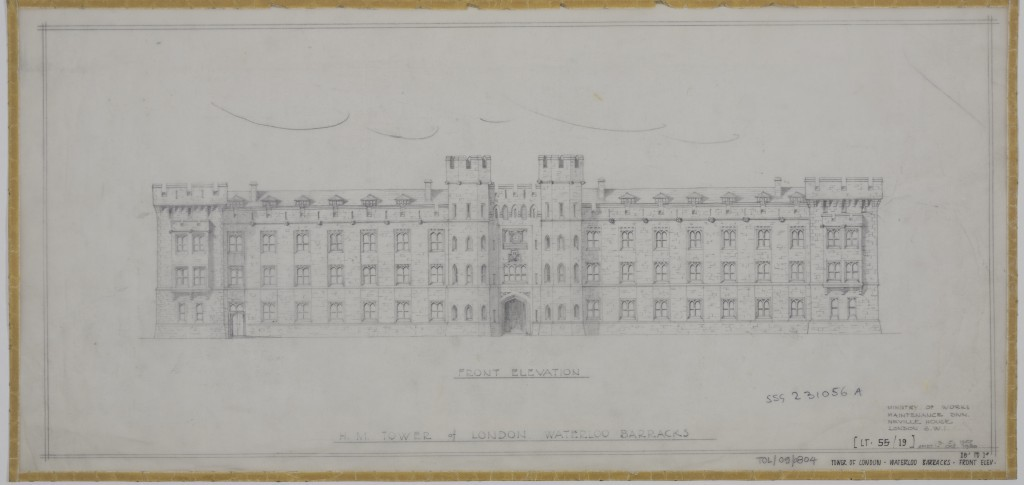 Elevation of the Waterloo Barracks, 1955, amended 1980, Ministry of Works. ©Historic Royal Palaces