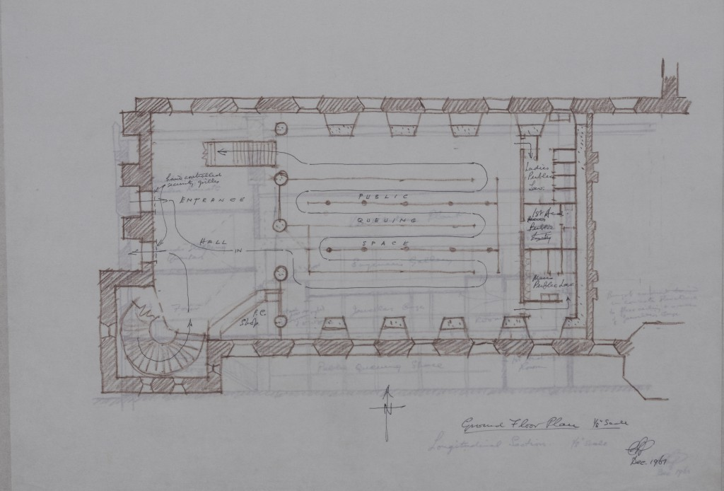Sketch showing scheme to re-house the Crown Jewels in the Waterloo Block, 1961. ©Historic Royal Palaces