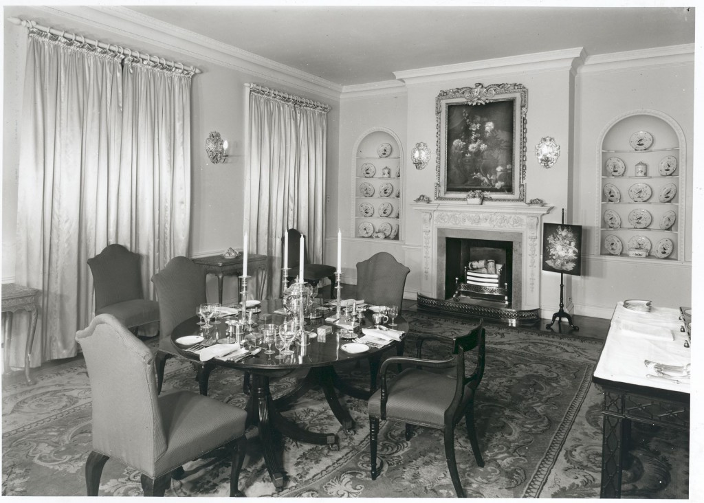 Princess Marina's dining room at Kensington Palace, 1954, Historic England Images.
