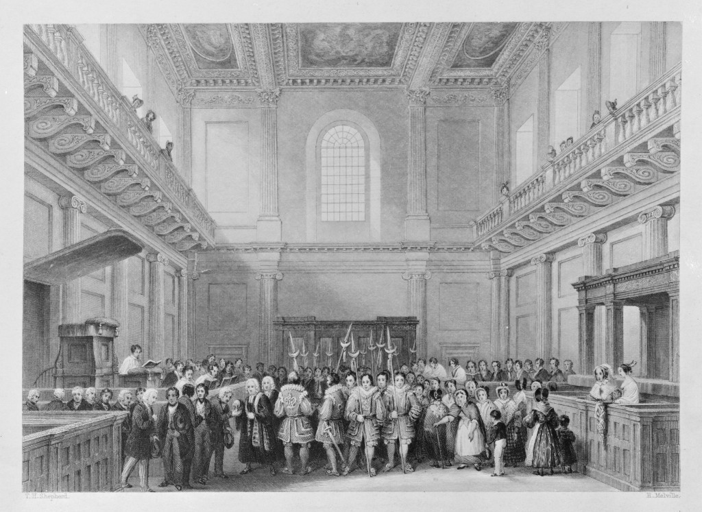 The Distribution of Royal Maundy in the Chapel Royal, Whitehall, 1842. Melville after Shepherd. © Historic Royal Palaces
