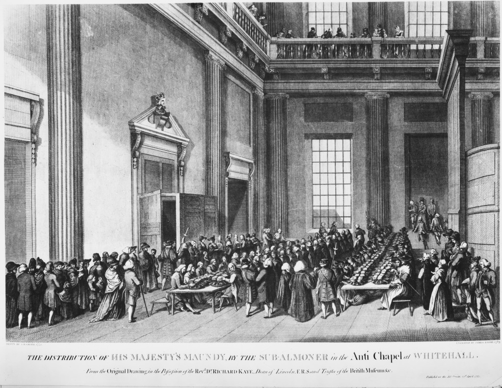 The Distribution of His Majesty's Maundy, by the Sub-Almoner in the Chapel Royal at Whitehall, 1777. Basire after Grimm. © The Lister Collection