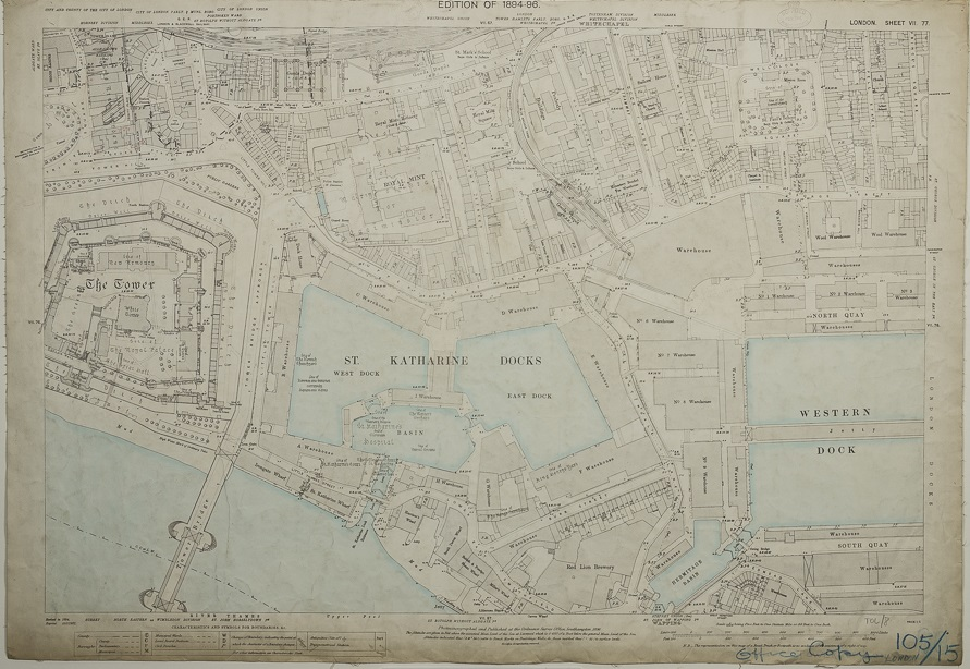 Hand coloured Ordnance Survey map showing the Tower of London and its environs, 1894-6.