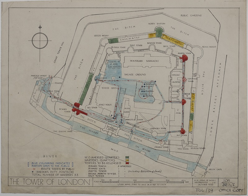 Hand coloured plan of the Tower of London showing areas reserved for residential quarters and areas open to the public. H.M. Office of Works, 1920.