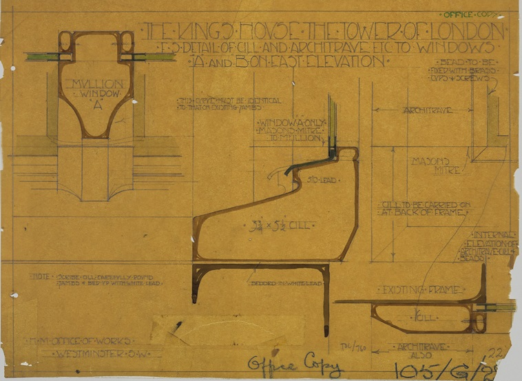 Full-size drawing showing the construction of the cill and architrave of windows in the King's House (now the Queen's House), H.M. Office of Works, about 1914.
