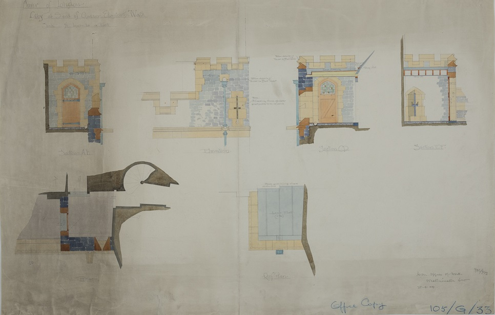 Pencil and wash drawings showing details of the lobby at the end of Queen Elizabeth's walk, H.M. Office of Works, 1904.