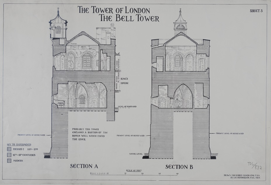 Section drawing showing the 12th-century Bell Tower, drawn by Harold Sands, FSA, 1934.