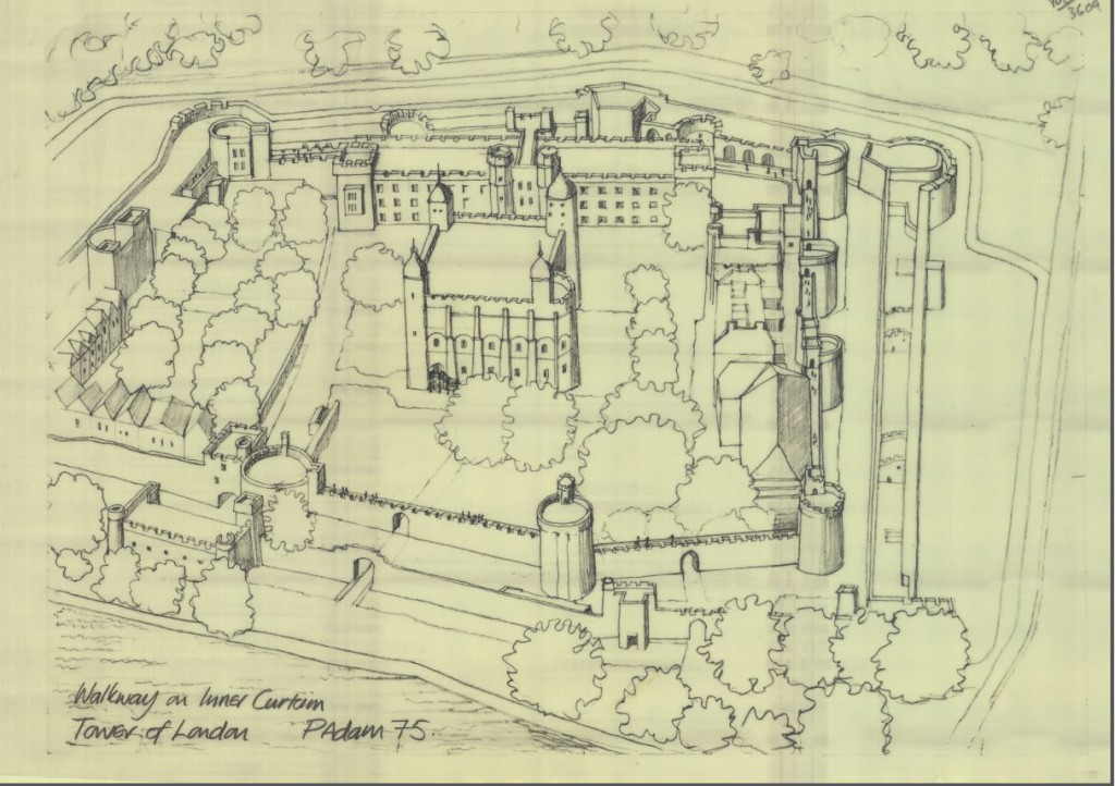 Ariel perspective of the Tower of London, P. Adam, 1975.