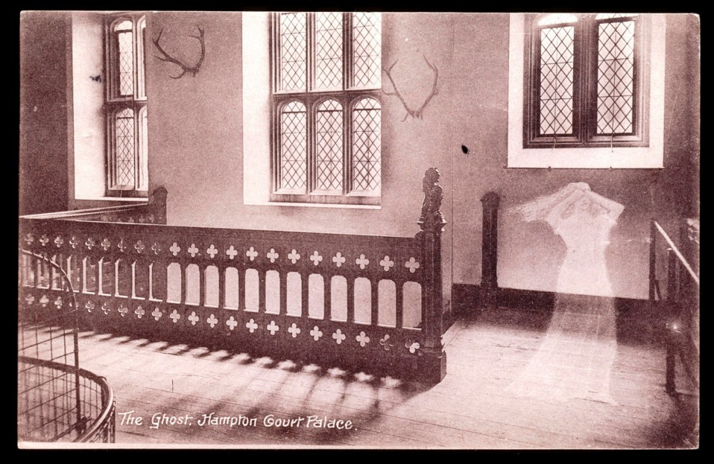 Postcard of 'The Ghost' in the Horn Room, off the Haunted Gallery at Hampton Court Palace, (c) Historic Royal Palaces HCP_HV20