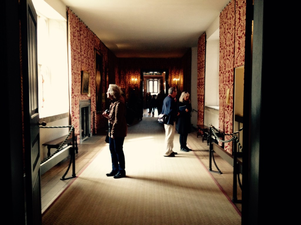 Visitors in the Haunted Gallery at Hampton Court Palace today (c) Historic Royal Palaces