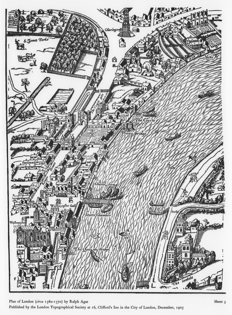 A section of an Elizabethan map of London, showing Whitehall Palace and the surrounding area c. 1561-70. Crown Copyright: Historic Royal Palaces. Whitehall Palace is shown in the middle with Charing Cross at the top and Westminster Abbey at the bottom. The Whitehall tiltyard is in the middle, to the right of 'Court Gate', represented by a long s-shaped tilt barrier.