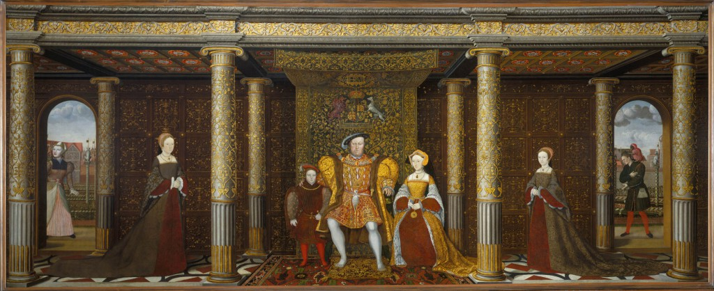 The Family of Henry VIII c. 1545. Royal Collection Trust/© Her Majesty Queen Elizabeth II 2016. The setting of this portrait most likely shows the interior of Whitehall Palace. However, it is Henry's third wife, Jane Seymour that sits next to him, not Anne Boleyn. Anne's daughter, the future Elizabeth I, stands to the far right.