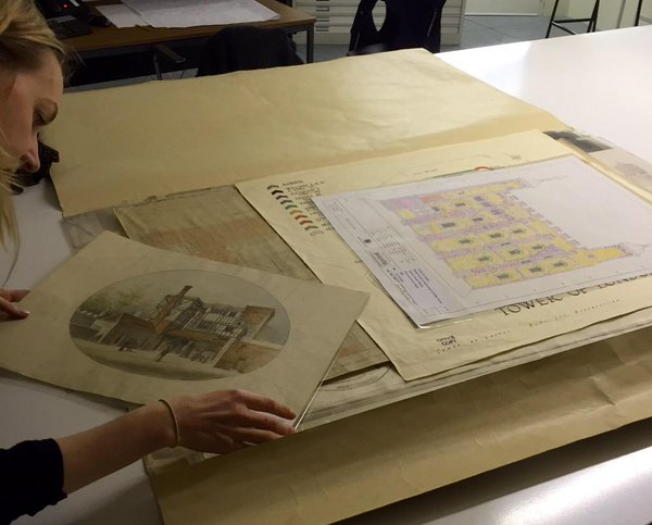 The day job isn't bad either… cataloguing drawings in HRP's Collection. ©Historic Royal Palaces