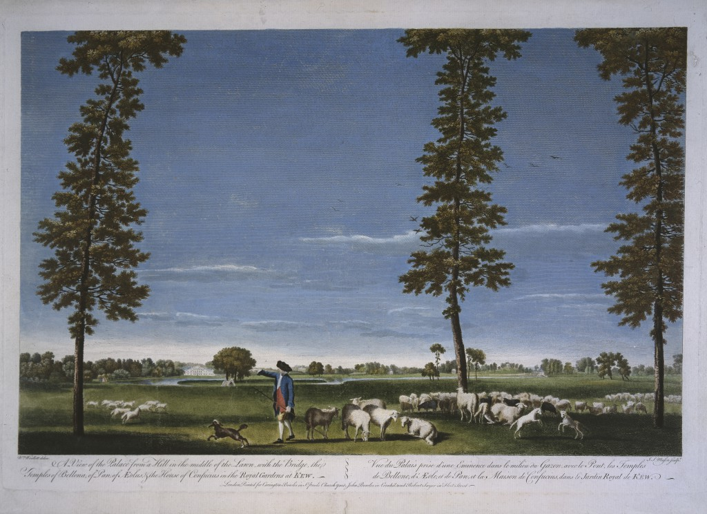 A view of Kew Gardens with a flock of sheep, by William Woollett, c1765 (© Historic Royal Palaces)