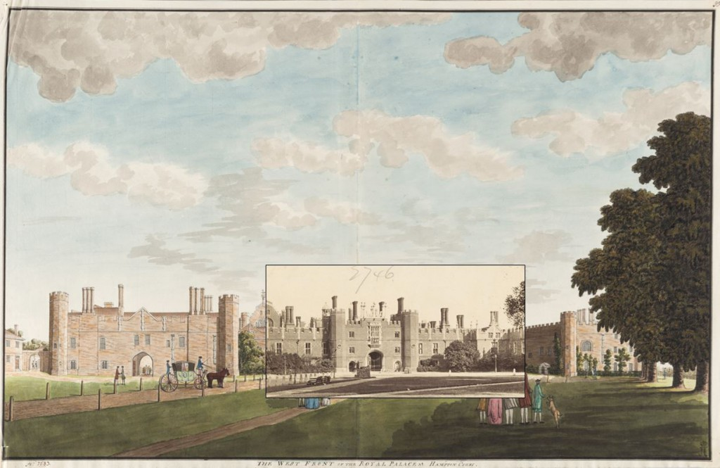 When Frith's photograph of the West Front is laid over Spyers' drawing the similarity is remarkable. Aside from resizing neither image has been manipulated.
