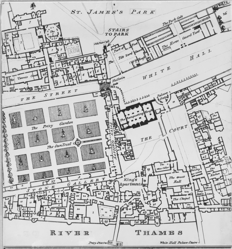 Plan of Whitehall Palace in 1670. The Holbein Gate is seen in the middle linking the two sides of the palace. Crown Copyright: Historic Royal Palaces