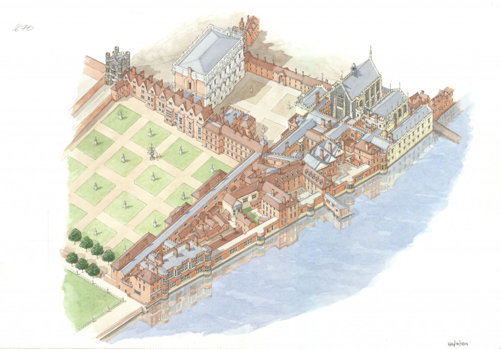 Reconstruction of Whitehall Palace in the reign of Charles II showing the Privy Garden on the left. Crown Copyright: Historic Royal Palaces.