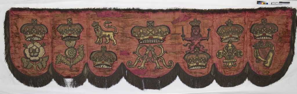 The front valance before conservation & Throne Canopy - The Emblems - HRP Blogs