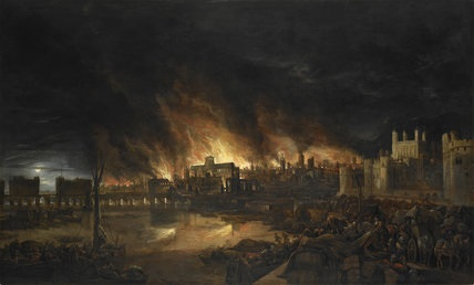 View of The Great Fire of London by Unknown Artist (c.1675). © Museum of London