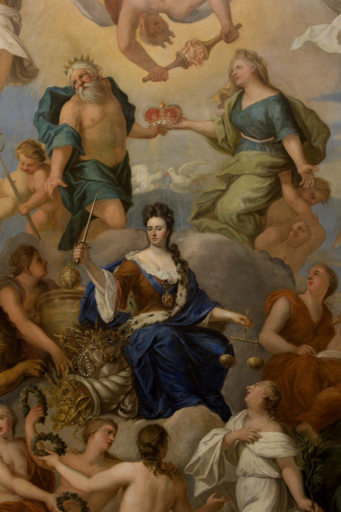 Queen Anne in a detail from the ceiling in the Queen's Drawing Room at Hampton Court Palace by Antonio Verrio (1636-1707)