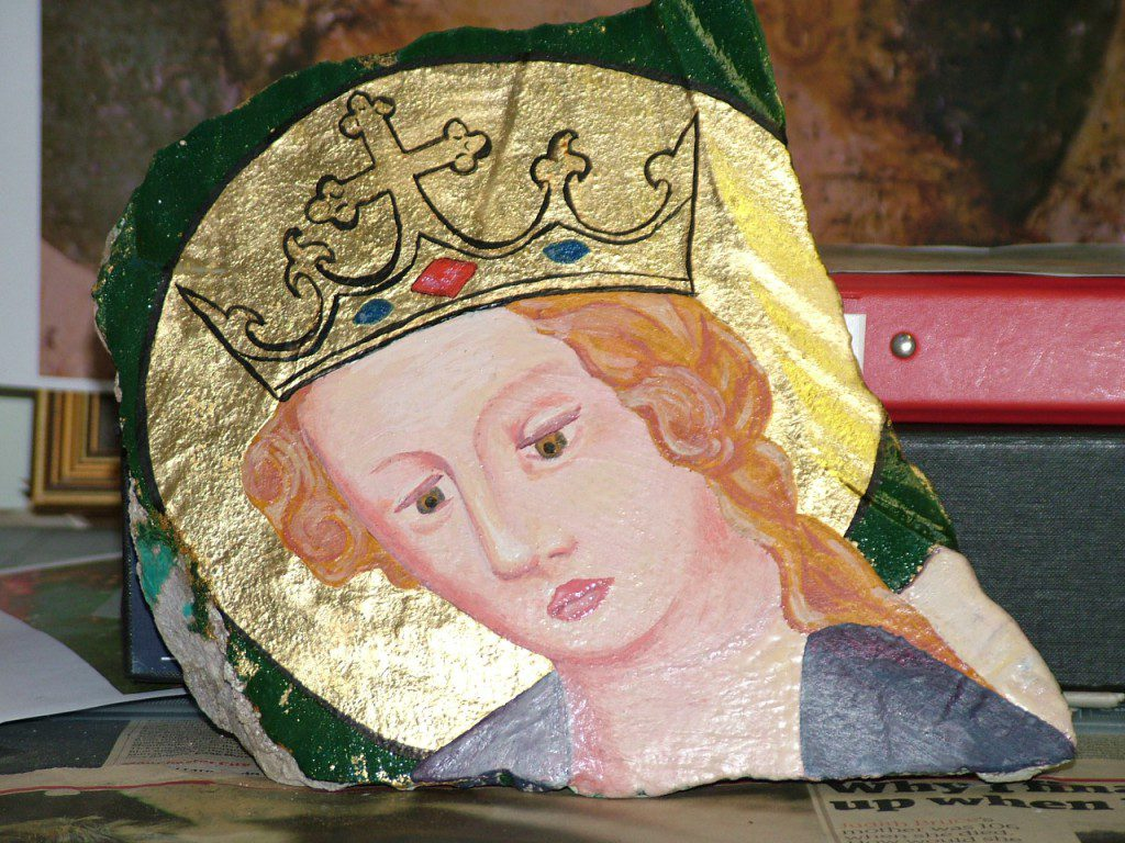Replica painting of Saint Michael's head, Tower of London