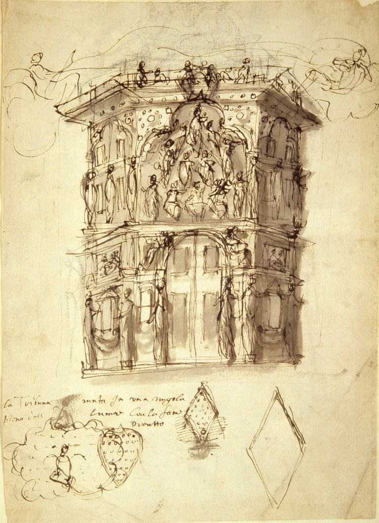 Inigo Jones, Design for The College of Augurs for The Masque of Augers © Devonshire Collection, Chatsworth. Reproduced by permission of Chatsworth Settlement Trustees