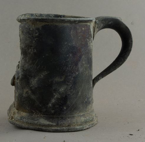 One of Francis Dobson's pewter tankards which he used at the Stone Kitchen Tavern at the Tower of London ©Historic Royal Palaces