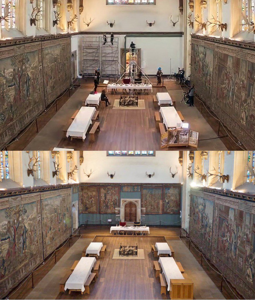 Before and after photos of The Great Hall, Hampton Court Palace