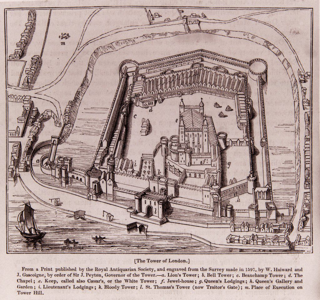 The Tower of London as it appeared in 1597, as shown in a much later print. The royal lodgings and Great Hall Elizabeth would have known are to the south of the White Tower, but were destroyed in the seventeenth century. © Historic Royal Palaces
