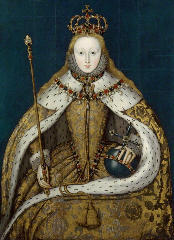 Queen Elizabeth I in her coronation robes, by unknown English artist, oil on panel, circa 1600. National Portrait Gallery, London (NPG 5175) © National Portrait Gallery, London