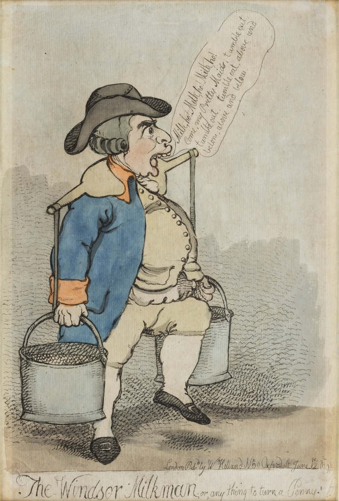 'The Windsor Milkman; or, any thing to turn a Penny',Richard Newton (1777-98),12 June 1792,King George III offers up milk for sale to relieve his financial problems. On display at Kew Palace © Historic Royal Palaces