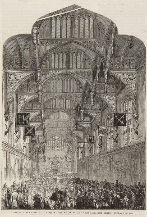Hampton Court Palace,W Thomas,17 January 1863,Concert in the Great Hall, Hampton Court Palace, in aid of the Lancashire Distress Fund