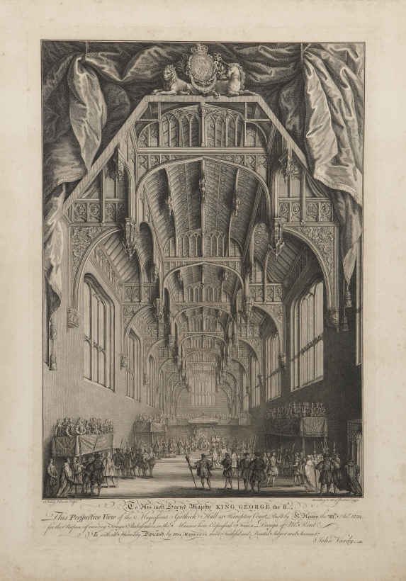 1749, ,John Vardy (1718-65), Imaginary perspective of the Great Hall, Hampton Court Palace, dedicated to King George II. Crown Copyright: Historic Royal Palaces
