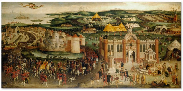 This painting which is on display at Hampton Court Palace shows the meeting of Henry VIII of England and Francis I of France at the Field of Cloth of Gold in 1520. In the background are the great golden tents from which the meeting took its name. British School, The Field of Cloth of Gold, oil on canvas, c.1545, Royal Collection Trust /© Her Majesty Queen Elizabeth II (RCIN: 405794)