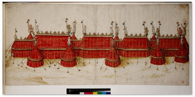 This drawing is the most well-known of a series of designs for tents thought to have been made to take to the Field of Cloth of Gold in 1520. Tent design for the Field of Cloth of Gold, c.1520 © The British Library Board (Cotton Ms. Augustus III. 18)