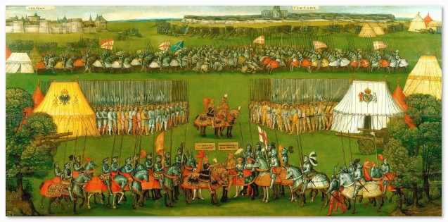 Another meeting of monarchs, this time between Henry VIII and Maximilian I, the Holy Roman Emperor, while on campaign in France in 1513. The two kings' tents are prominently displayed hinting at their important status at such moments of political and diplomatic significance. This painting is also on display at Hampton Court Palace. Flemish School, The Meeting of Henry VIII and the Emperor Maximilian I, oil on panel, c.1513, Royal Collection Trust /© Her Majesty Queen Elizabeth II (RCIN: 405800)