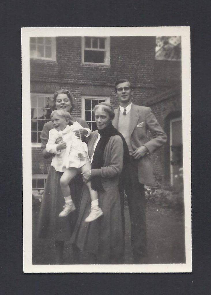 Xenia with her family at Wilderness House c.1949. Here she is photographed with her son Prince Vasili, his wife Natalia, and their daughter Marina. © Historic Royal Palaces Collection.