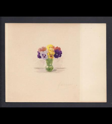 "A watercolour of pansies in a vase painted by Grand Duchess Xenia. On the reverse she has written in English, ""The vase you gave me!"" © Historic Royal Palaces Collection."