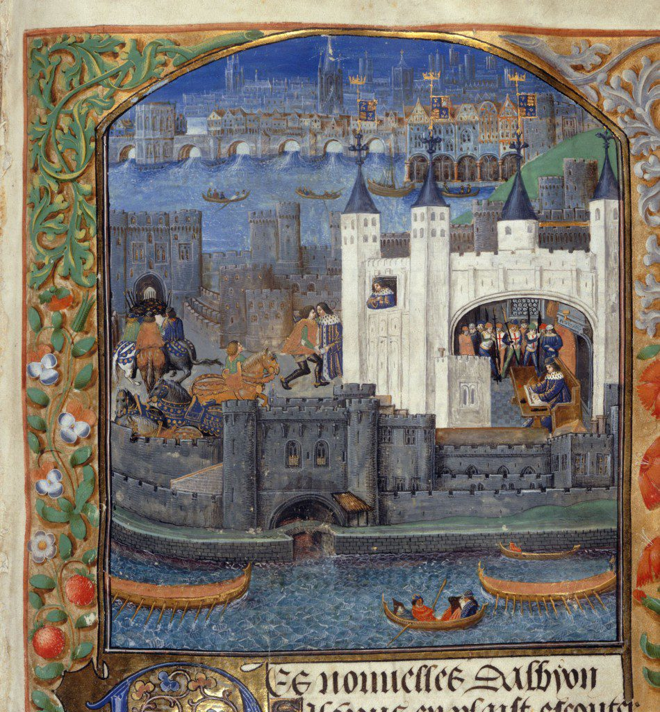 The Tower of London, from a book of poems by Charles, Duke of Orléans. BL Royal MS 16 F II, f.73. CC-By-NC 4.0
