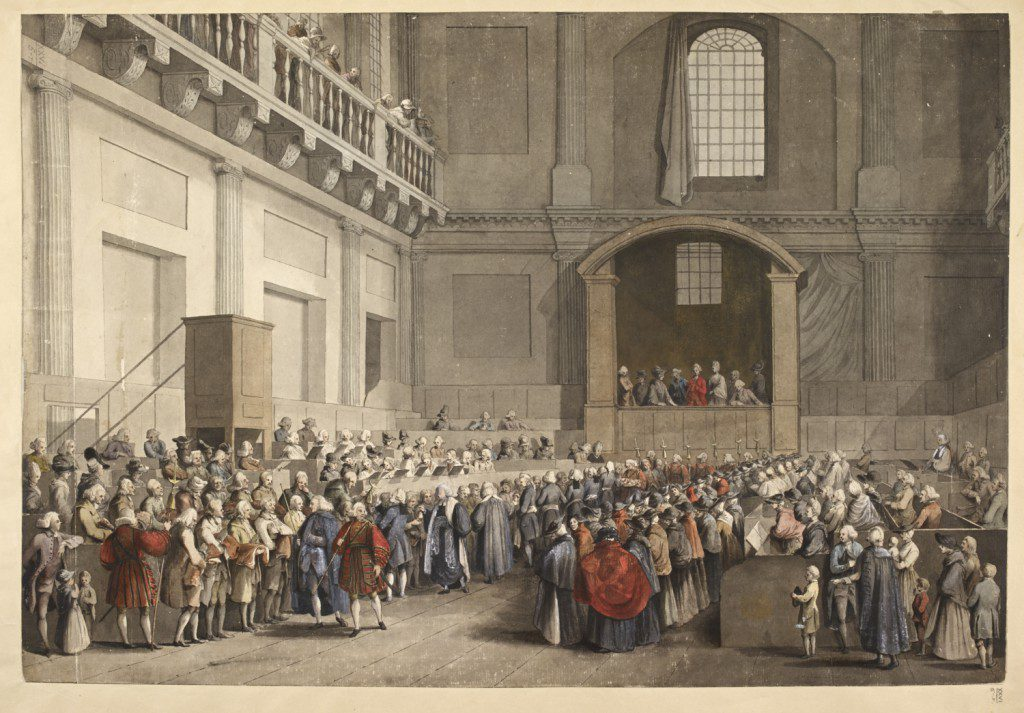 The distribution of His Majesty's Maundy in the Chapel Royal [Banqueting House], by S. H. Grimm. BL Maps K.Top.26.5.r. Public domain.