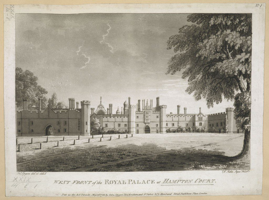 West Front of the Royal Palace of Hampton Court, by John Spyers. BL Maps K.Top.29.14.l.1. Public Domain.