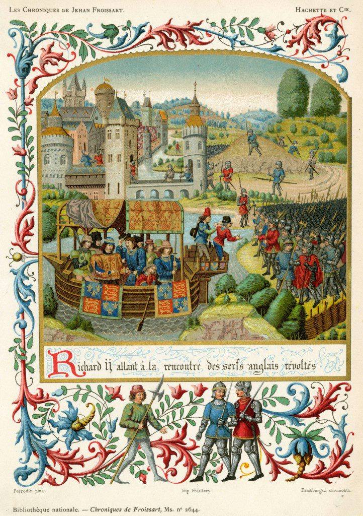 Illuminated page from c. 1480 manuscript of Froissart's Chronicles © Alamy