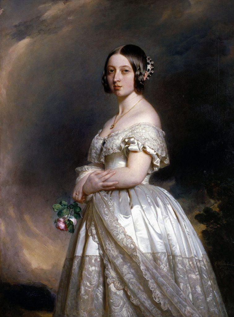 5a8dde04517 Portrait of Queen Victoria in her wedding dress by Franz Xaver  Winterhalter