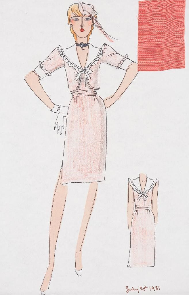 Sketch of the Princess's going away outfit with a swatch of the silk. © Historic Royal Palaces
