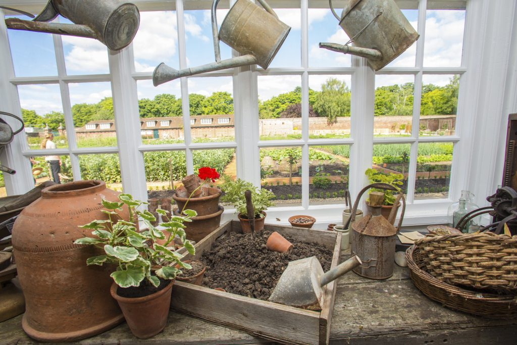 View of the Kitchen Garden from inside the Gardener's Pavilion.